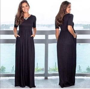 Dresses & Skirts - Womens black 3/4 sleeve knit maxi party dress
